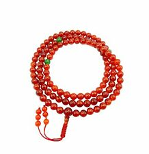 Carnelian Tibetan Buddhist 108 Bead Mala for Meditation with Green Jade Spacers