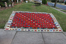 "Vintage Afghan Wool Hand Woven Area Rug-10'6""X6'10""-Red W/Colorful Patterns-#1"