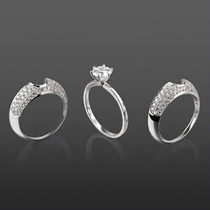 BANDS SET DIAMOND RING ROUND 14K WHITE GOLD 6 PRONG 2.4 CT SI1 LADY EARTH MINED