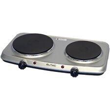 Eltac DK 28 plata metálica doble placa de cocina 1500 vatios progresivo de reglamentación