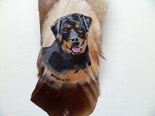 ROTTWEILER-Hand painted rare turkey feather, by artist W. W. Hoffert