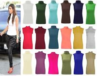 Womens Girls Plain Polo Vest Ladies Stretch Turtle High Neck Sleevelees Top 8-22