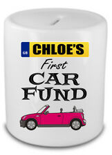 Personalised First Car Fund Savings Bank Money Box Gift Any Name Any Car Present