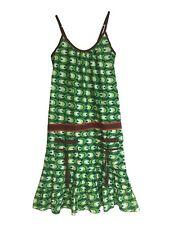 Casual Dress Summer Beach Holidays Green Print Tiered Boho Hippy Sundress UK 6