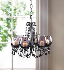 BLACK hanging chandelier CANDELABRA Candle holder Wedding table centerpiece