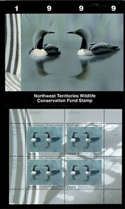 NORTHWEST TERR #3M 1999 ARCTIC LOON CONSERVATION STAMP MINI SHEET OF 4 IN FOLDER