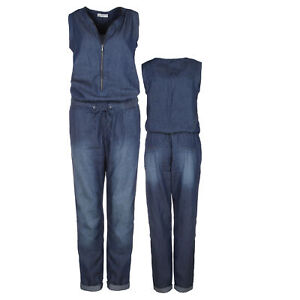 Damen Jeans Jumpsuit Overall Hosenanzug Lang Denim Einteiler Elegant Sublevel