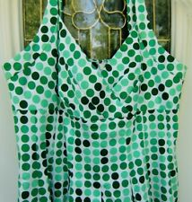 NEW DIRECTIONS WOMANS SUN DRESS WHITE GREEN POLKA DOTS  SIZE -12 NWT RETAIL $86.