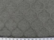 Drapery Upholstery Fabric Chenille Jacquard Tradition Quatrefoil Design - Gray