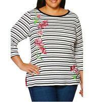 NEW Rafella X-Large 18/20 Floral Embroidery Stripe Tunic Sweater Top Macy's $59