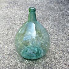 "Authentic Old Spanish GreenGlass Demijohn Wine Bottle, ""Ayelense"", 15 Liters"