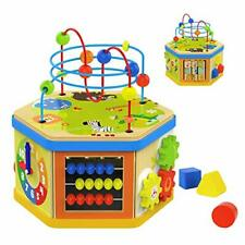 Top Bright Wooden Activity Cube Toy for 1 Year Old Boy and Girl Gifts Baby