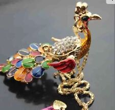 Betsey Johnson Necklace Gold Colorful 🌈 Rainbow Peacock Beautiful Crystals