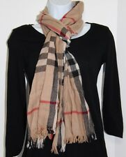 Burberry Scarf Wrap Crinkle Camel Check Classic Cashmere Merino $450