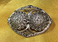 Vintage Antique Sterling Silver / Marcasite Brooch Pin Fine Jewelry
