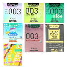 3p Okamoto ULTRA THIN Condoms 003 Platinum, Real Fit, Aloe, Polyurethane 3p