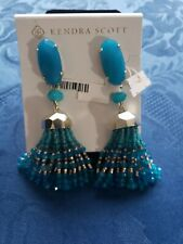 Kendra Scott Dove Turquoise Blue Agate Tassel Beaded Earrings with Bag NWT