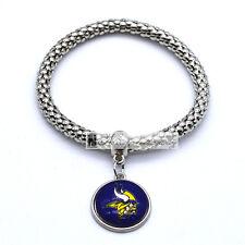 Minnesota Vikings Team Logo Charm Dangle Fashion Silver Tone Stretch Bracelet