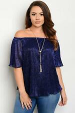 NEW..Stunning Black & Blue Lurex Off The Shoulder Top with Necklace..SZ16/1xl