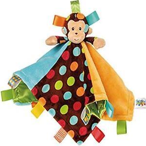 Monkey Blanket Kids Taggie Dots Toddler Baby Plush Rattle Soft Gift Boys New