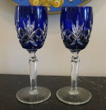 "AJKA ELIZABETH SIGNED COBALT BLUE CUT TO CLEAR CRYSTAL CORDIAL GLASSES 6"" HIGH"