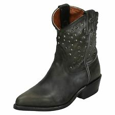 LADIES HARLEY DAVIDSON KIRA BLACK LEATHER STUDDED COWBOY ANKLE BOOTS