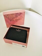 KATE SPADE NEW YORK SMALL ZIP BIFOLD WALLET, PURSE ~ BLACK GLITTER, BNWT, BOXED