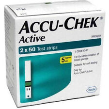 100 Glucose Test Strips Accu Chek Active Expiry September 2020 Shipping from USA