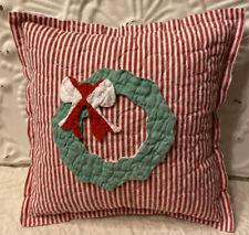 NEW Handmade Christmas Wreath Pillow Tuck  Vintage Quilt Chenille Bedspread Cute