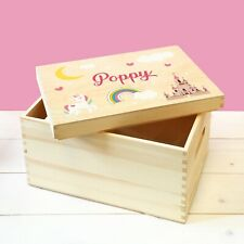 Personalised Unicorn & Fairytale Castle, Girls Wooden Toy Storage Box with Lid