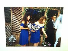 Vintage 80s Photo Outdoor Wedding In The Woods Brides Maids Holding Bouquets