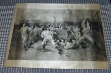 VERY RARE ANTIQUE Silk Print 1890 RUGBY Football STEVENSGRAPH?