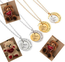 """NEW TEDDY BEAR 7.5""""& Love You to the Moon And Back necklace VALENTINES DAY GIFT"""