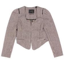 MAISON SCOTCH Tweed Striped Open Front Shoulder Pad Blazer Jacket sz 1 XS