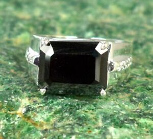 7.24 Ct  Black Diamond Halo Solitaire Men's Silver Ring Ideal Gift