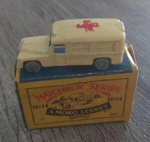 Matchbox Lesney Moko Model Car Daimler Ambulance Boxed no 14 England Rare