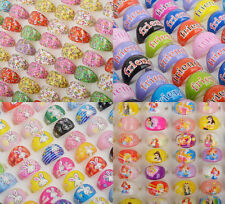 10PC Wholesale Mixed Bulks Fashion Resin Children Kids Butterfly Friends Rings