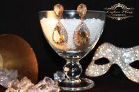 Brautschmuck Hochzeit Ohrringe Ohrhänger XL Gold / Gold Klar Luxury Strass