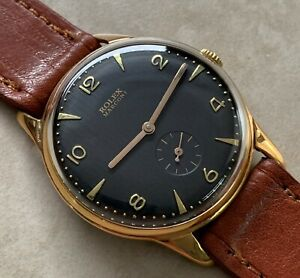 VTG ROLEX MARCONI BLACK DIAL BIG SIZE 18K GOLD PLATED CASE FROM 1930 APROX.