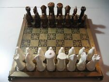 Chess Set with ceramic porcelain pieces & heavy duty metal board (good used cond