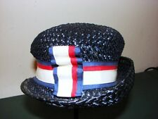Retro Navy Blue Woman's Hat w Red, White & Blue Ribbon