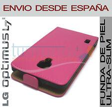 FUNDA DE PIEL PREMIUM ROSA / FUCSIA ULTRA-SLIM para LG OPTIMUS L7 II P710 CUERO