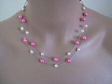 Collier couleur Ivoire/Rose/Fuchsia p robe de Mariée/Mariage/Soirée perles