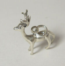 Reindeer Charm Sterling Silver Pendant Jewelry Xmas Christmas USA Made Rudolf