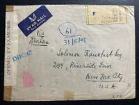 1943 Bombay India Airmail Censored Cover To New York USA Back Stamped