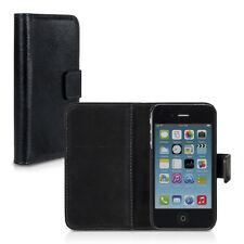 Carlsson Echt Leder Hülle für Apple Iphone 4 4S Schwarz Tasche Wallet Case Etui