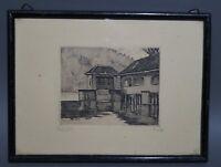 Karl Fuchs (1872 - 1968) - Wasserhaus Esslingen - handsignierte Radierung