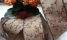 2m brown ribbon/lace with berries  crafts Gift Wrapping