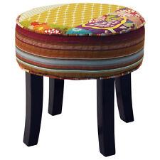 Patchwork - Rond shabby chic Pouf tabouret avec bois pieds Multicolore och3537