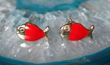 Ohrstecker Ohrring Fisch Fische hell rot emailliert vergoldet